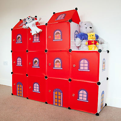 Red Castle Cubes - Kids Wardrobe Storage Units Toy Boxes Organizer Room Tidy