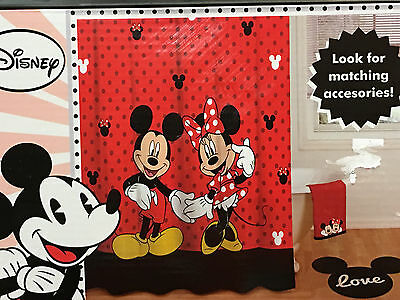 New Disney Mickey and Minnie Fabric Shower Curtain
