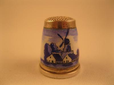 Antique Sterling Silver Enamel Windmill Scene Sewing Thimble