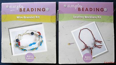 2 Simply Beading Jewelry Kits Wire Bracelet and Leather Necklace