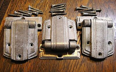 "Antique Ice Box Hardware 3 Old Hinges 3 3/4"" x 4 5/8"" 3/4"" offset"