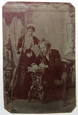 Interesting and Unusual Tintype - Woman Holding Long Rifle and Man by His Wig