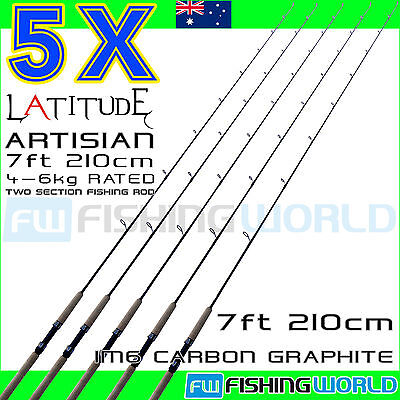 5 x LATITUDE ARTISIAN 210 7ft 4-6kg IM6 CARBON 2 SECTION SPINNING FISHING ROD