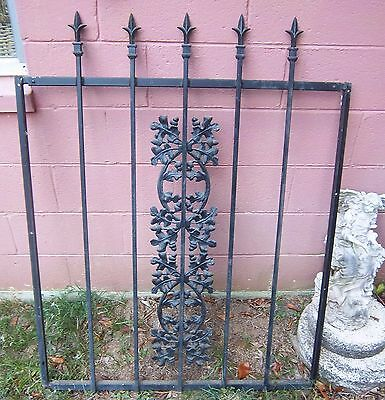 Vtg lrg Wrought Iron Gate Door Window Panel Fence Architectural Salvage Guard