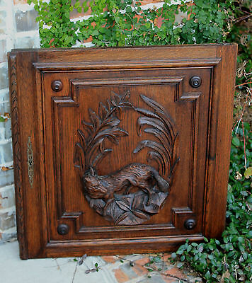 Antique French Oak Black Forest FOX Architectural Hanging Wall Panel Door #1