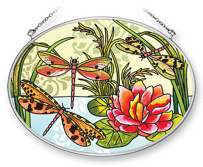 Dragonfly Suncatcher Hand Painted Glass AMIA 7x5 Oval Dragonflies Pink New