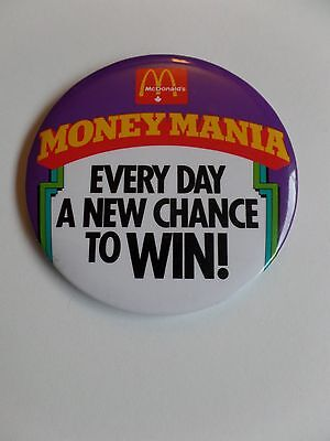 Vintage McDonalds Restaurant Employee Button Pin Money Mania