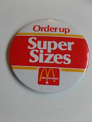 Vintage McDonalds Restaurant Employee Button Pin Order Up Super Sizes