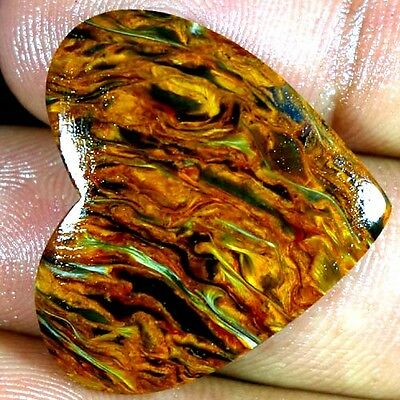 21.60Cts. 100% NATURAL ~MIND BLOWING~ GOLDEN PIETERSITE HEART CABOCHON GEMSTONES