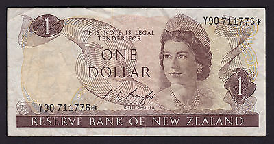 New Zealand One Dollar $1 Banknote R L Knight 1975 P-163c Star Note Y90* rare