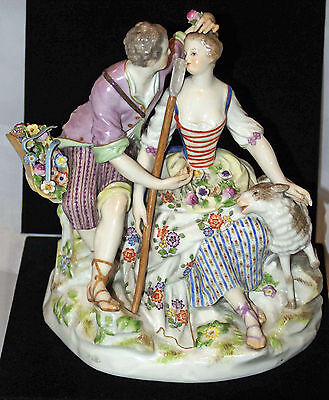 """Antique Meissen Porcelain Figurine Hand Painted """"Courting Shepherds"""""""