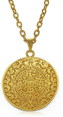 "ACROSS THE PUDDLE 24k GP 1.4"" Aztec Calendar 3 mm Thick 22"" Chain Necklace"