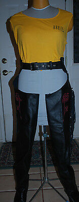 "SHAF Black Leather Motorcycle Chaps Red Rose Design Fringe Leg 32-34 Waist 31"" L"