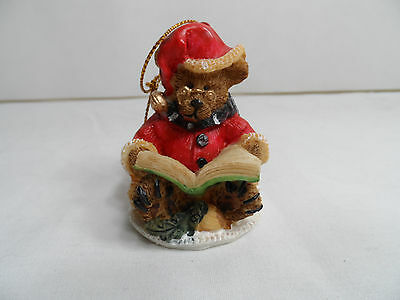 Teddy Bear Reading Story Book Christmas Tree Ornament new snow winter