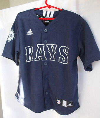 TAMPA BAY RAYS MLB Blue Polyester V Neck Button Jersey Adidas Sz Large Childs