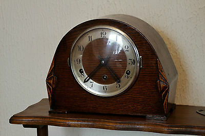 Vintage Art Deco German FHS oak case 8 day mantel clock with Westminster chimes