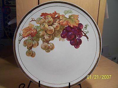 GREAT DECORATIVe PLATE WITH GRAPES & CRACKLE GLAZE AND GOLD TRIM L@@K!!