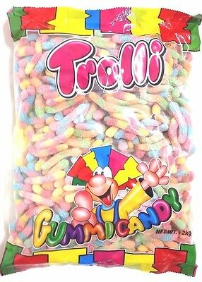 Trolli Sour Worms Candy Buffet Brite Crawlers Lollies Sweets Factory Sealed 2Kg
