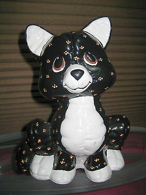 Vintage 1985 Hand Painted Kimple Mold Softie Pillow Quilted Halloween Black Cat