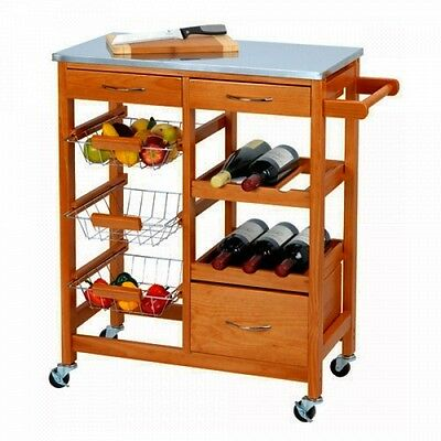 Wooden Kitchen Trolley Island Cart Food Drinks Bar Storage Serving Buffet Board