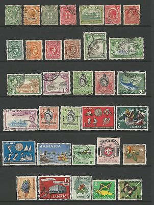 Jamaica  Early Collection 33 Stamps OVERPRINTS George V VI QEII Good to Fine