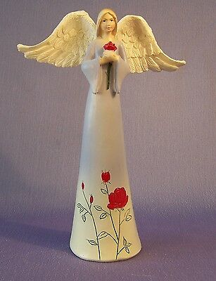 NEW Purple Angel With Rose Decorative Ornament Figurine 15 cm High