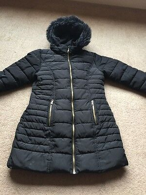 Next Girls Coat Black Fur Lined Age 12 Years