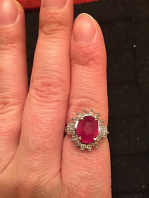 14K Yellow Gold Natural Ruby Diamond Ring Size 7