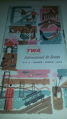 TWA Airlines International Air Routes Map Brochure Vintage 1965 solid condition