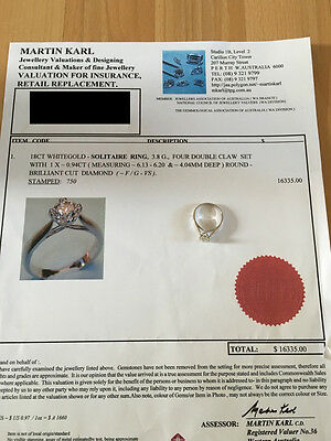 18CT White Gold Solitaire Brilliant Cut 0.94CT F/G VS Diamond Engagement Ring