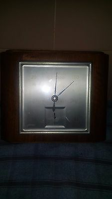 Vintage Square Wooden Wall Barometer c1940's