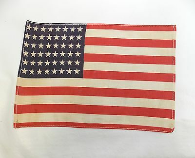 "Antique US FLAG 48 Star Small WWII Era Correct 7"" x 10 1/8"" (Stains) 0313-10"