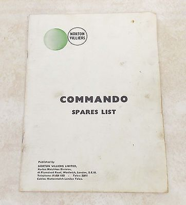 Original NORTON VILLIERS COMMANDO Spares List PARTS CATALOG Missing Cover 0714-1