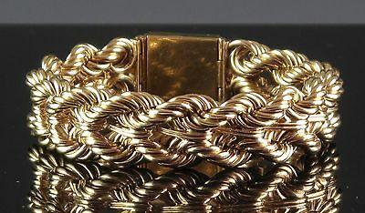 Incredible Heavy 14K Yellow Gold Braided Rope Style Bracelet