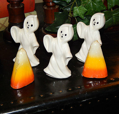 80s 3 adorable halloween vtg ceramic white ghosts and two candy corn candles
