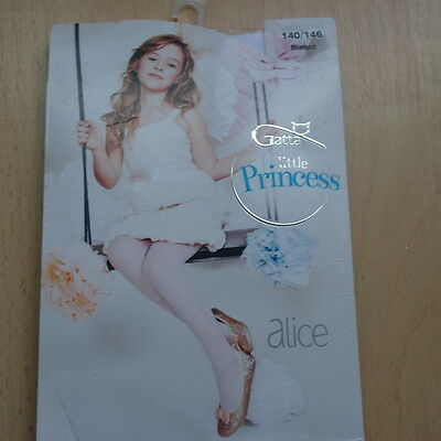 Lovely girls white party tights with flowers motif 140-146 cm New