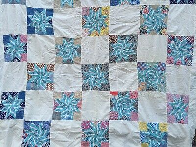 Vintage Feedsack Prints QUILT TOP  Hand Pieced Great Colors Turquoise