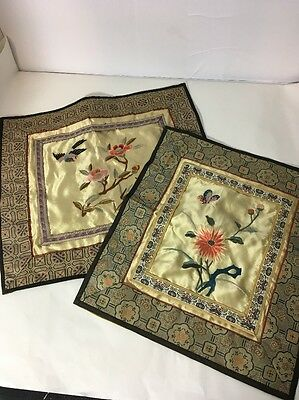 Lot Of 2 Chinese Silk Embroidered Square Pillow Covers Vintage Framable Panel