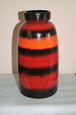 GIANT WEST GERMAN ORANGE RED and BLACK STRIPED VASE