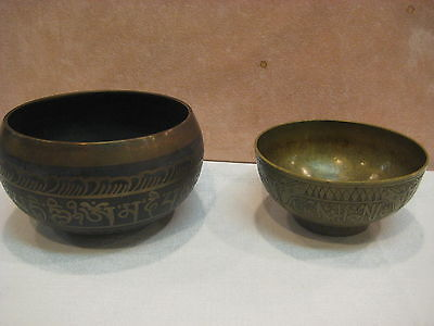 Two Islamic Vintage Art Collectible Featuring Arabic Calligraphy Brass Bowls