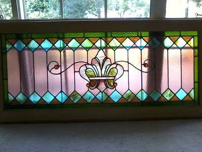 "Large antique stained glass window 24"" by 55"" oak framed fleur de lis motif NICE"