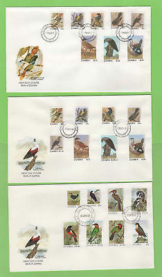 Zambia 1987/91 Birds definitives on five First Day Covers