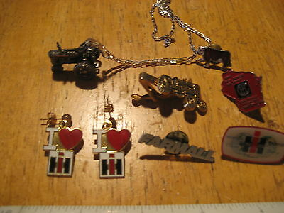 Lot of International Harvester Collectibles - Pins, Tractor Pendant, Earrings