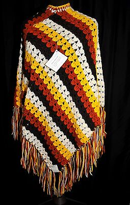 VTG 70s Girl's Wool Crochet Poncho Sears Junior Bazaar NOS w/Tags Italy One Size