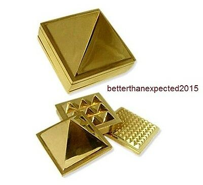 "VASTU PYRAMID SET-POSITIVE ENERGY TOOL-SET OF 3 PLATE - 1.5"" x 1.5"" 91 PYRAMIDS"