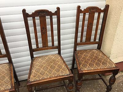 Set Of Four Solid Oak 1930's Dining Chairs