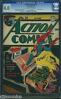 Action Comics #65 CGC 4.0 1943  Offwhite to White pages.  Hitler Appearance