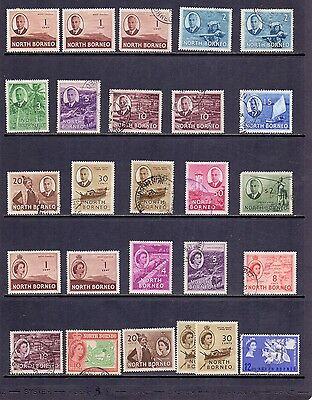 North Borneo. 26 mint and used KG6 and QE2 stamps issued 1950/63