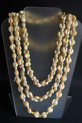 Cowrie Necklace Vintage Shell Sea Handmade 2 Strand Strung Polished Phillipines
