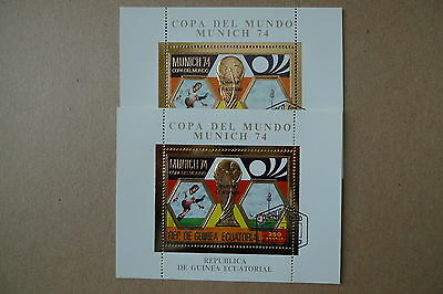 Guinea Soccer World Cup 1974 Used Orange Colour Variety And Normal Red,one Each